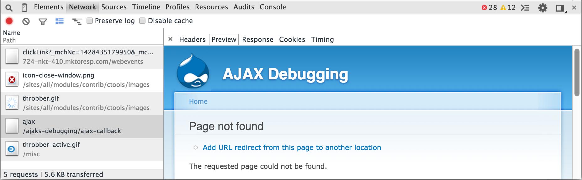 AJAX Debugging Page Not Found
