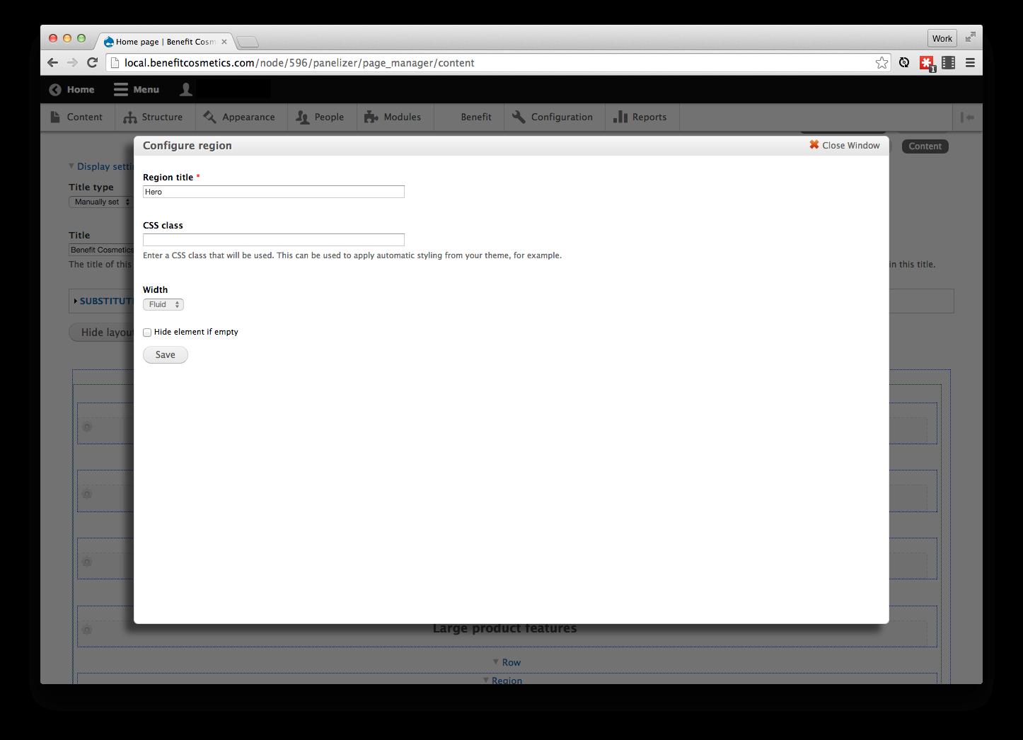 Drupal layout builder class modal