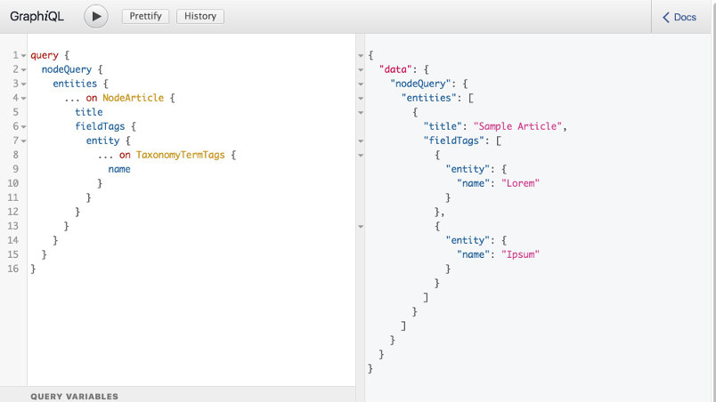 Example of a GraphQL query and response