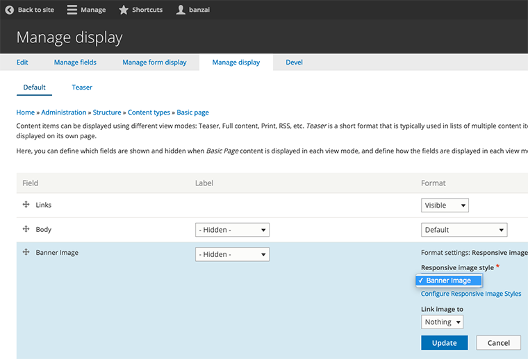Configuring an image to use your responsive image style.